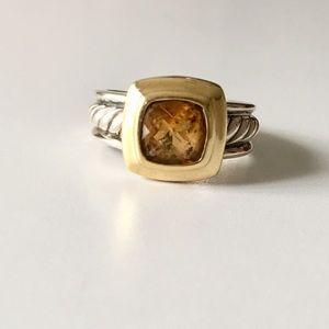 DAVID YURMAN CITRINE 925 SILVER & 18k GOLD RING